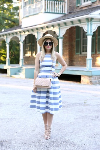 suburban faux-pas blogger dress hat bag shoes sunglasses jewels stripes chanel chanel bag nude bag straw hat lace up heels