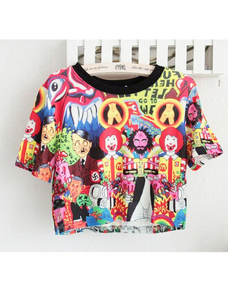 t-shirt cartoon top disney sweater warner bros crop tops short disney princess disney sweater warner brother macdonald macdonalds mcdonalds mcdonald's mcdonald's logo