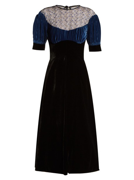 EMILIA WICKSTEAD dress velvet dress embroidered lace velvet black