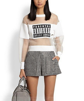 Parental Advisory Print T-Shirt - Juicy Wardrobe