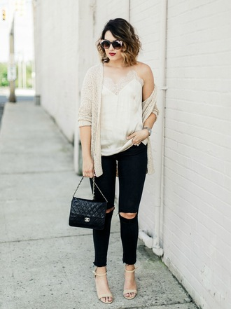 life & messy hair blogger tank top shoes bag cardigan sunglasses chanel bag sandals high heels high heel sandals skinny jeans camisole spring outfits
