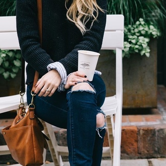 jeans tumblr denim blue jeans ripped jeans sweater black sweater ring jewels jewelry dark nail polish nails bag leather bag brown bag