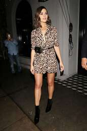 dress,olivia culpo,animal print,leopard print,ankle boots,fall outfits,fall colors,celebrity