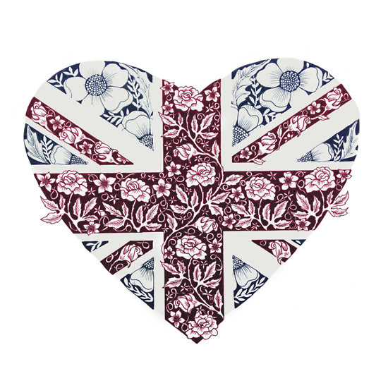 """Floral Union Jack Heart"" T-Shirts & Hoodies by DecorativeD 
