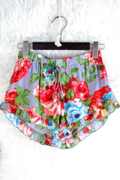 """flower power"" ruffle shorts"