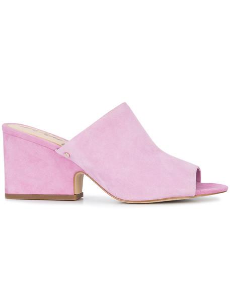 Sam Edelman heel women mules suede purple pink shoes