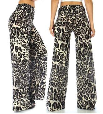 leopard print palazzo pants wide-leg pants red lime sunday