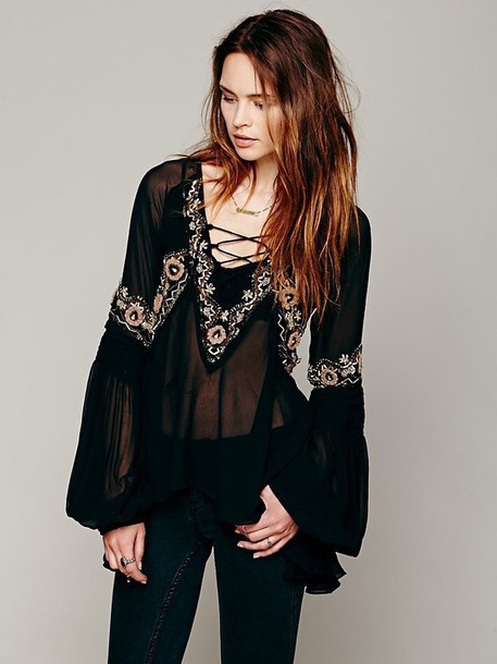 blouse paths of fancy black silver embroidery free people embroidered gold see through lace up top