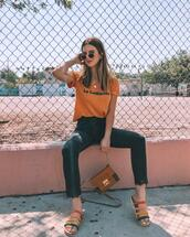 take aim,blogger,t-shirt,jeans,shoes,bag,sandals,summer outfits