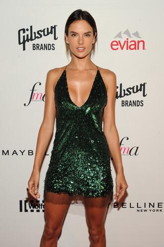dress sparkly fashion week 2014 mini dress green dress alessandra ambrosio forest green