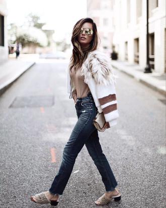 jacket top nude top tumblr white jacket bomber jacket denim jeans blue jeans shoes mules sunglasses