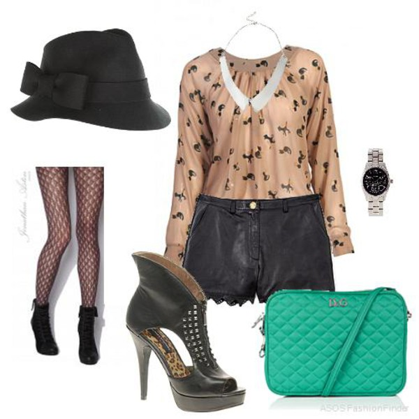 blouse watch shorts tights bag hat shoes jewels