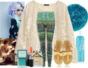 pants,leggings,tribal pattern,printed leggings,shoes,make-up,lipstick,curly hair,hair dye,cute,perfume,sandals,colorful patterns,pattern