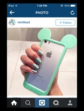 phone cover,mint mickey mouse ears