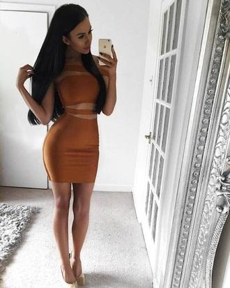 dress orange orange dress slit dress slit bodycon