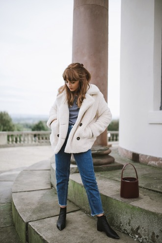 jacket tumblr white jacket fuzzy jacket bag denim jeans blue jeans cropped jeans boots black boots ankle boots