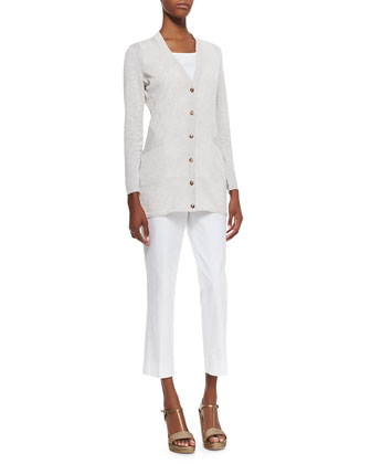 Lafayette 148 New York Long V-Neck Cardigan, Scoop-Neck Tank & Cropped Bleecker Pants  - Neiman Marcus