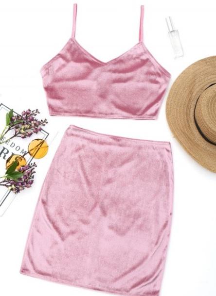 dress girly pink pink dress two-piece crop tops crop cropped skirt velvet velvet dress