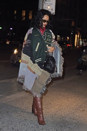 miu miu,rihanna,baseball jacket,leather backpack,brown leather boots,nordstrom,rihanna style,mini backpack