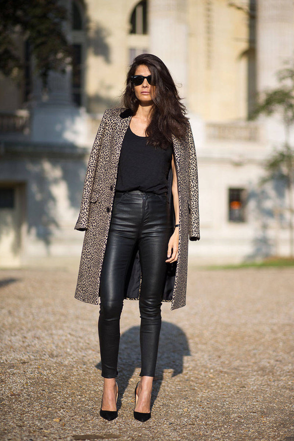 pants leather pants leather leopard print fashion week 2014 streetstyle fall outfits