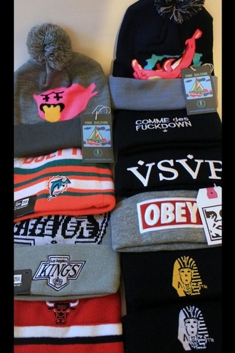 hat beanie obey obey beanie last kings pink dolphin new era