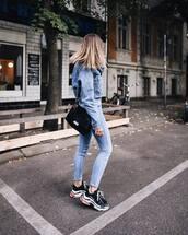 shoes,sneakers,platform sneakers,skinny jeans,jeans,high waisted jeans,denim jacket,shoulder bag