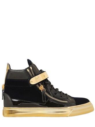 sneakers velvet gold blue black shoes