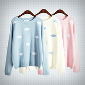 sweater,kawaii,pastel goth,shirt,clouds,color/pattern,kawaii grunge,printed sweater,colors: grey and or black