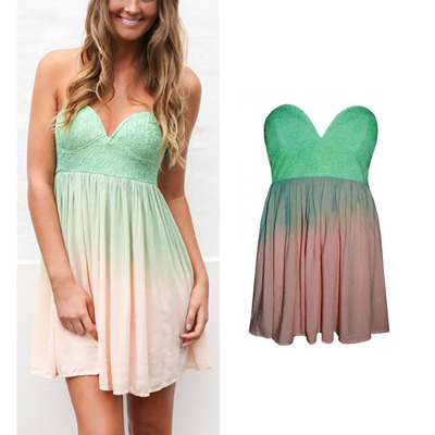 Fashion gradient color lace deep v sexy dress party dress  · fe clothing · online store powered by storenvy