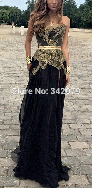 ph15601 Black and Gold Gown gatsby inspired party gown prom dresses ...