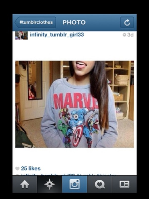 sweater tumblr tumblr girl marvel superheroes crewneck color/pattern