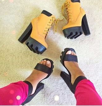shoes high heels chunky sole timberlands boots