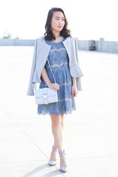 it's not her it's me,blogger,dress,grey jacket,lace dress,light blue,blue dress,shoulder bag,date outfit,bag,shoes,pastel bag,romantic summer dress,romantic dress