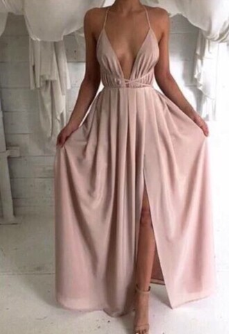 dress multi-way halter neck halter dress pink pearl pink prom dress prom maxi dress maxi deep cleavage pastel pink baby pink boho boho dress boho chic