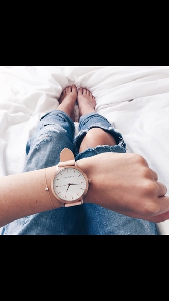 home accessory watch rose gold white rose gold watch pink watch white watch