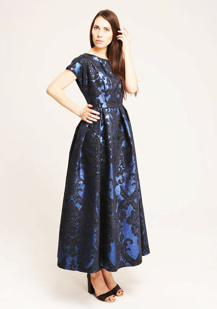 Blue dress with black pattern