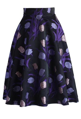 skirt purple tulips a-line midi skirt chicwish midi skirt a-line skirt floral skirt printed skirt chicwisn