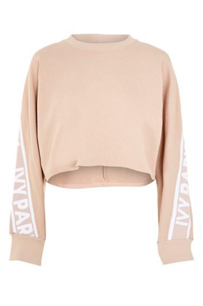 Topshop sweatshirt cropped black sweater