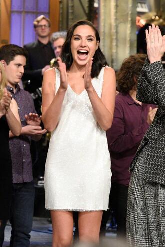 dress gal gadot mini dress white white dress sequins sequin dress