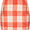 Topshop petite orange wool check skirt in orange | lyst