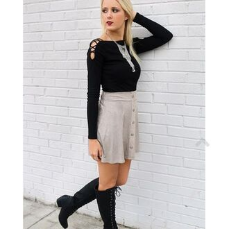 skirt amazing lace fashion pretty style cute trendy love happy fashionista fashion blogger blogger style button up taupe suede skater sweet beginnings boots boho bohemian