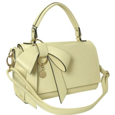 Ladies Cute Beige Bowknot Top Handle Tote Handbag, Faux Leather Shoulder Bag Purse Satchel, Gift Idea | Handbag4Ladies.com