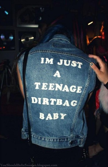 vest teenage dirtbag wheatus denim punk top song music quote on it jacket denim teens one direction weheartit graphic denim jacket sleeveless sleeveless jacket sleeveless jean jacket typography denim jacket denim jacket teenagers jeans grunge teen hipster dress