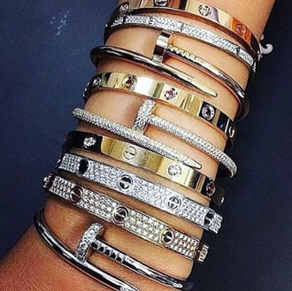 jewels braclet gold silver diamonds bracelets stacked bracelets jewelry