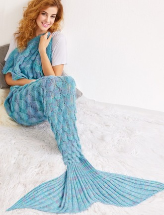 home accessory blanket mermaid blue