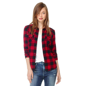 Autumn 2013 Flannel Long Sleeve Turn down Collar Red and Black Plaid Womens Blouse Shirt Tops with Pocket Free Shipping-in Blouses & Shirts from Apparel & Accessories on Aliexpress.com