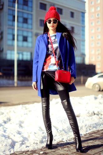 aibina's blog blogger t-shirt coat knee high boots pom pom beanie red bag