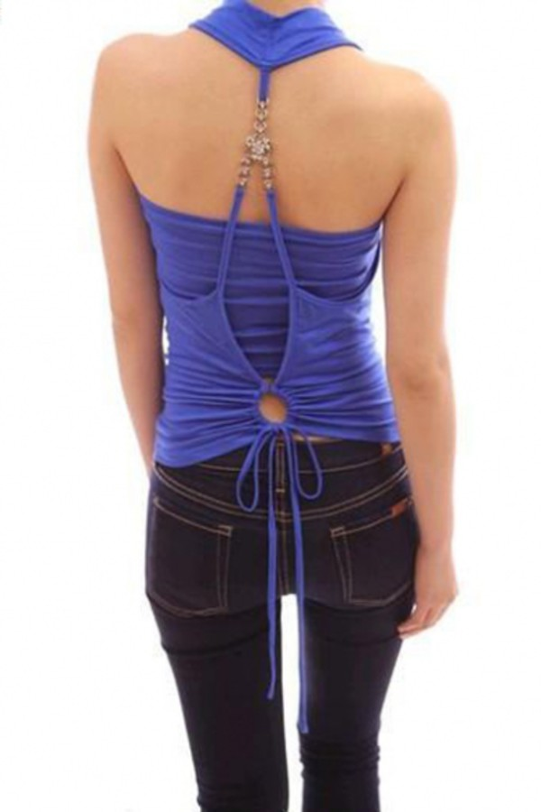 top beautiful halo strappy backless fashion style style scrapbook tank top summer blue top
