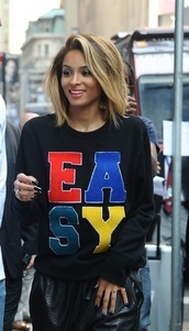 shirt,ciara,easy,colorful,celebrity,black,long sleeves,sweater