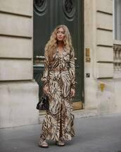dress,maxi dress,leopard print,long sleeves,long sleeve dress,v neck dress,mules,handbag